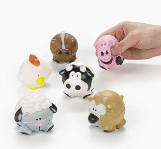 stress balls farm animal shaped relax barnyard party favors