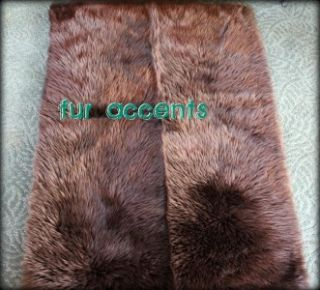 Fur Accent Rug Runner Brown Bear Sheepskin Mink Wolf Plush Pelt Throw