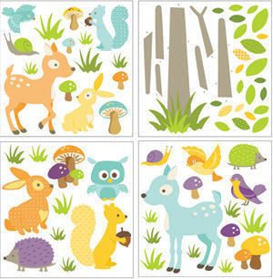 Baby Woodland Animals Wall Stickers 71 Colorful Decals Nursery Decor