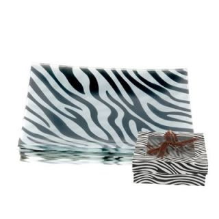 ZEBRA APPETIZER PLATES SET OF 4 PIECES SQUARE ANIMAL PRINT GLASS WILD