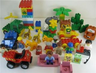 Big Lot Of Lego Duplo Building Blocks People & Animals 190 Pieces