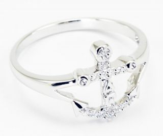 Delta Gamma Sterling Silver Anchor Ring Set w Lab Created Diamonds New