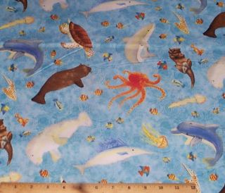 Ocean Animals Dolphins Fish Rainy Days Quilt Fabric 4yd