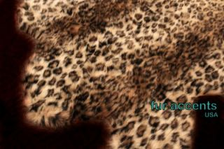 LEOPARD ACCENT RUG FAUX FUR BEAR SHEEPSKIN ANIMAL PELT CABIN AFRICAN