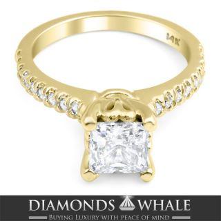 03 CT PRINCESS CUT VS1 DIAMOND ENGAGEMENT RING 14K WHITE GOLD