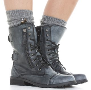 Flat Lace Up Biker Style Military Shoes Ankle Boots Size 3 8