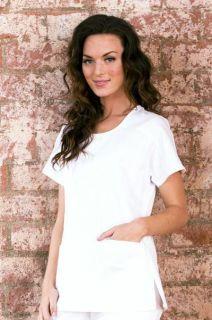 Koi Kathy Peterson White Andie Raglan Sleeve Mock Wrap Scrub Top XS
