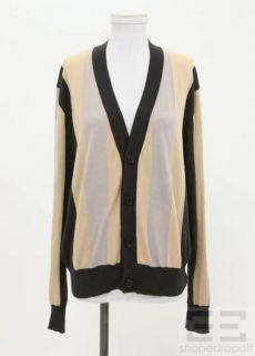 Ann DEMEULEMEESTER Mens Beige Grey Stripe Cardigan Sweater Size M