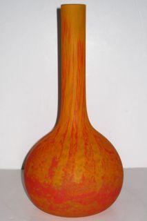 André Delatte Art Deco Period Mottled Orange Glass Vase