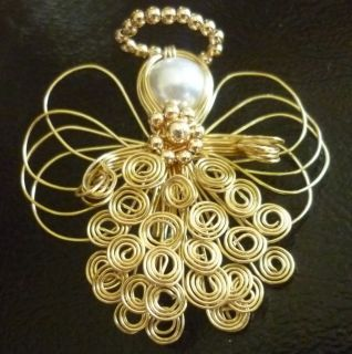Gold Tone Angel Pin with Beaded Halo Wire Wings and Pearl Head