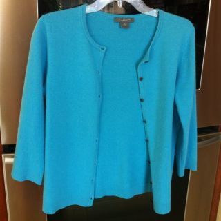 Ann Taylor Teal Blue 3 4 Sleeve Cashmere Sweater Size M