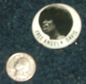 GREAT Free Angela Davis button Black Panther item from early 70s FREE