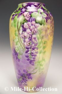 LIMOGES FRANCE HAND PAINTED WISTERIA VASE SIGNED ANNA J SMITH