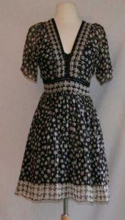 Anna Sui Silk Black Shimmer Star Babydoll Dress 2 XS