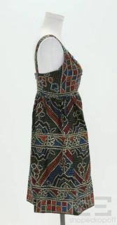 Anna Sui for Anthropologie Black & Multicolor Print Beaded Sleeveless