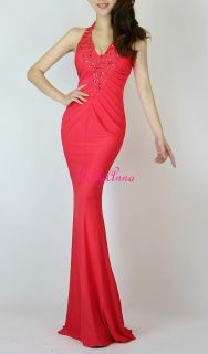 Vtg Pinup Sexy V Neck Prom Party Evening Gown Fitted Bridesmaid Long