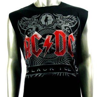 Sz L AC DC Angus Young Sleeveless T Shirt Tank Top Biker Heavy Metal