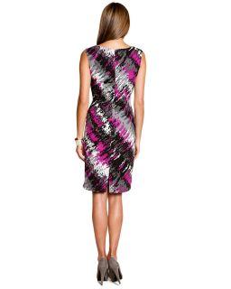 anne klein black fuchsia print twist front dress $ 129
