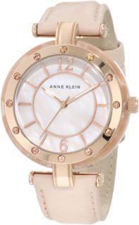 Anne Klein Womens 10 9994RGLP Rosegold Tone Peach Leather Strap Watch