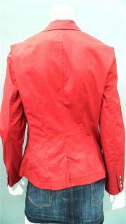 Anne Klein New York Misses 6 Cotton Jacket Red Solid Coat Designer