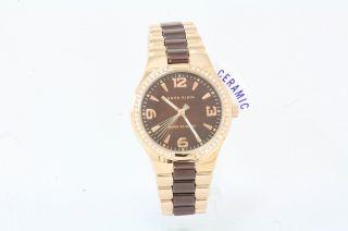 Anne Klein Womens 10 9118BMRG Brown Rose Gold Ceramic Analog Watch