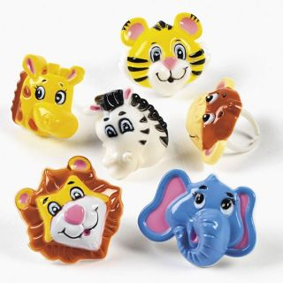 12 Zoo Animal Rings Safari Party Favors Cupcake toppers Tiger Zebra