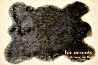 60 Faux Fur Black Wolf Accent Rug Pelt Rug Bear Sheepskin Throw