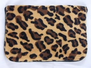 Travel Zipper Bag Leopard Animal Print Faur Fur 8 x 5 5