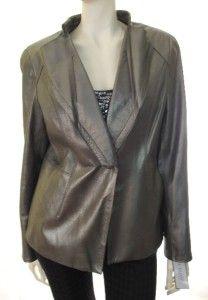 Anne Klein New York Metallic One Button Leather Jacket Pewter $695