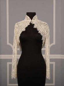 Justina McCaffrey Couture Ivory Long Sleeve Beaded Lace Jacket Bolero