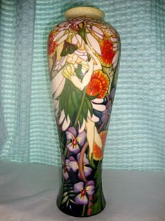 Huge Ltd NEW boxed 2011 MOORCROFT Vase COTTINGLEY 121/14 Fairy Pixie