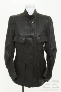 ANN DEMEULEMEESTER Black Leather Button Front Jacket Size 38