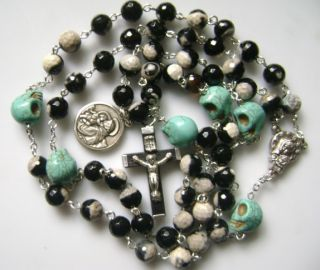 Agate & Turquoise Skull ROSARY WOOD CROSS & St. Anthony Medal