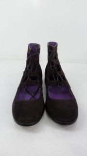 Anna Sui Womens Ghillie Lace Up Boot   Brown   7.5   Retail $165