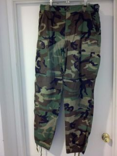 MILITARY BDU ISSUE WOODLAND GREEN PANTS MEDIUM LONG UNIFORM CAMO