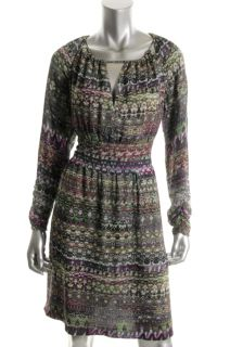 Anne Klein Multi Color Printed Silk Long Sleeves Ruched Casual Dress
