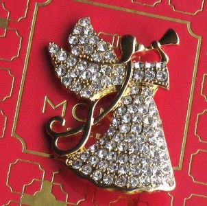 STYLE MONET RHINESTONE CHRISTMAS EASTER ANYTIME ANGEL BROOCH PIN