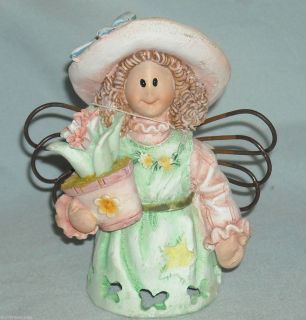 New Gardening Angel Figurine Flower Pot Resin 4 5 Wire Wings Bonnet