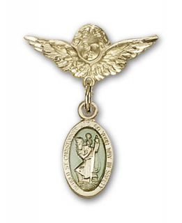 Baby Badge Gold Filled St Christopher Angel Wings Pin