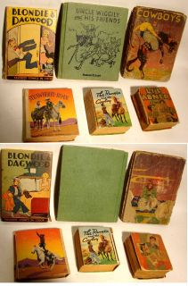 Old Antique Books Blondie Dagwood Cowboys Lil Abner Uncle Wiggly The