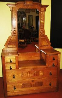 Antique Oak Carved Dresser w Ori Mirror Hardware