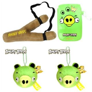 Angry Birds Crotch Fork Sling Plush Toy + 2x Green King Pig Free