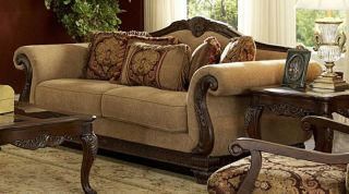 ANTIQUE VICTORIAN STYLE CHENILLE SOFA COUCH LIVING ROOM FURNITURE