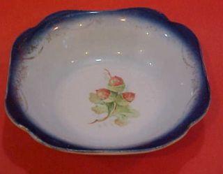 Antique Saxon China porcelain pottery berry bowl blue red white