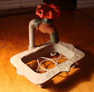 Rustic Country Primitive Antique Faucet Bathroom Soap Dish Home Decor