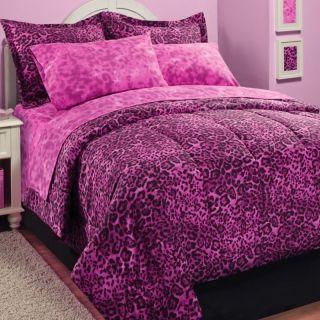 Twin Sz Leopard Zebra Safari Pink Black Animal Print 6pc Comforter Set