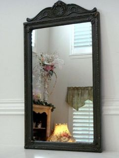 Antique Wood Frame Glass Mirror with Ornamental Topper Corner Elements