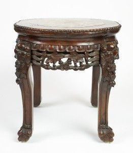 Antique Carved Rosewood Marble Pedestal Stand Table WOW