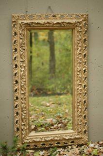 52 Antique Victorian Deep Acanthus Leaf Gold Mantel Beveled Mirror VG