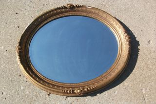 Vintage Oval Gold Gilt Gesso Framed Wall Mirror Beveled Glass 33 x 28